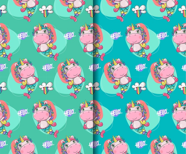 Set of hand drawn cute magical unicorn seamless pattern