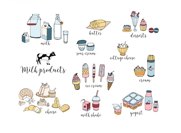 Set of hand drawn dairy products. cheese, milk shake, butter, yogurt, cottage cheese, sour cream, desserts, cow. colorful illustration on white