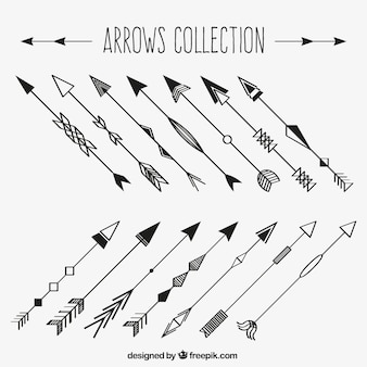 Set of hand drawn decorative arrows