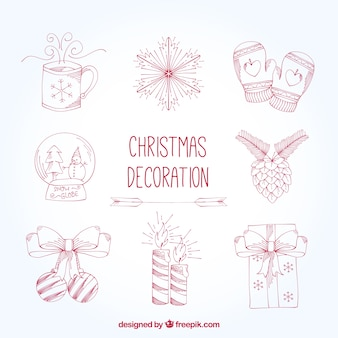 Set of hand drawn decorative christmas elements