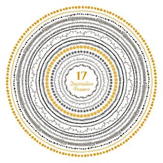 Disegnati a mano cornici decorative set illustrazione vettoriale di 15 fotogrammi carino in stile tribale