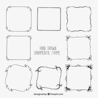Set hand drawn decorative frames
