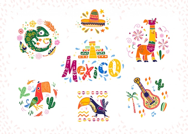 Set of hand drawn decorative mexican elements