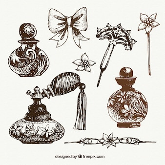 Set of hand drawn decorative objects