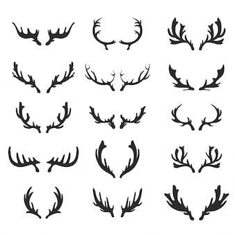 Set of hand drawn deer antlers vectors.