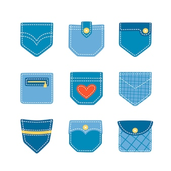 Set of hand drawn denim patch pockets for pants and other clothing
