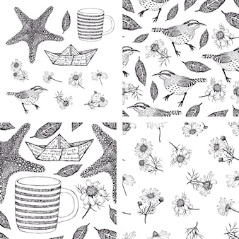 Set of hand-drawn design elements and patterns with camomiles, birds and sea stars