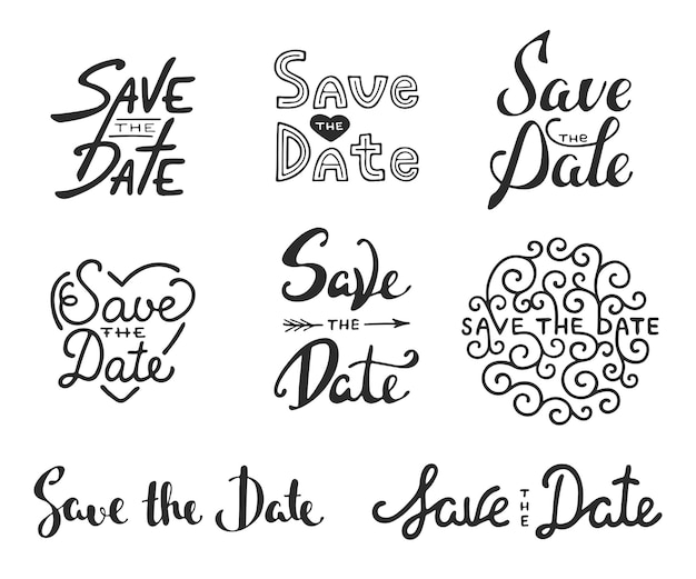 Set of hand drawn design. save the date calligraphy phrases. unique lettering.