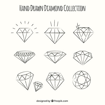 Set of hand-drawn diamonds