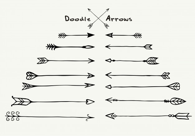 Set of hand drawn different arrow