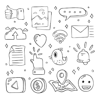 Set of hand drawn doodle cute social media icons