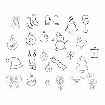 A set of hand-drawn doodle drawings on the theme of new year and christmas.  vector contour elements for decorating greeting cards, invitations, and packaging..