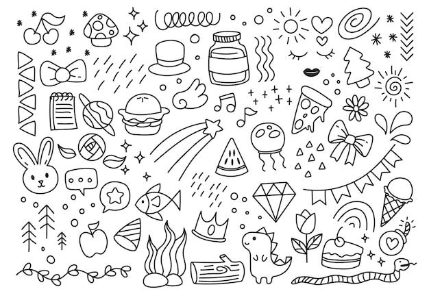 Set of hand drawn doodle elements