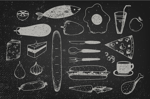 Set of hand drawn doodle food on chalkboard. black and white graphic illustration