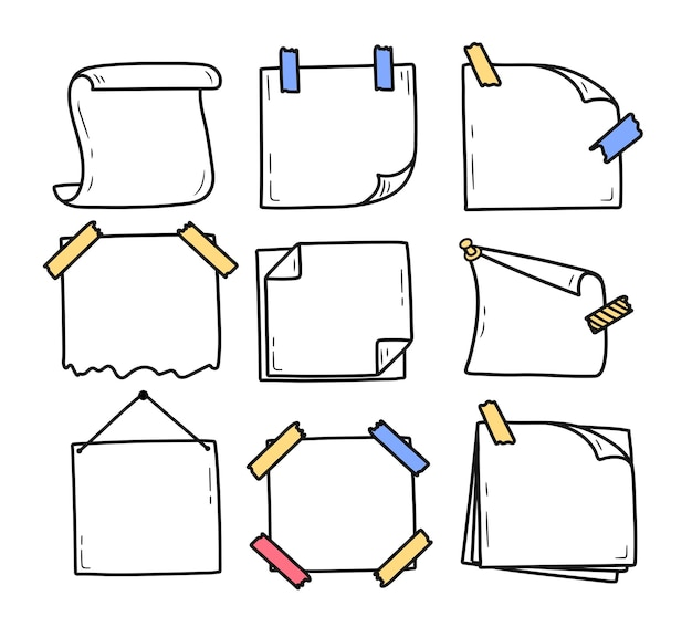 Set of hand drawn doodle notepad for messages notes doodle style