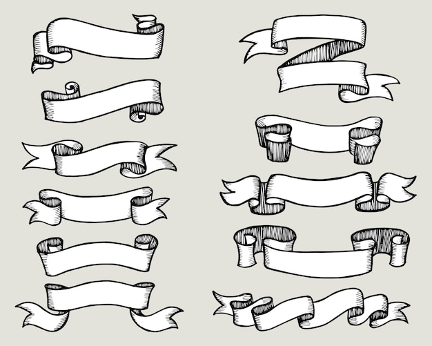 Set of hand drawn doodle ribbons