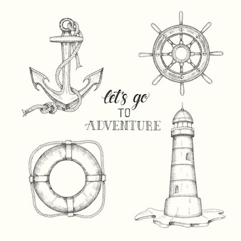 Set of hand drawn doodle vector anchor