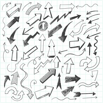 Set of hand-drawn doodles arrows, sketch style