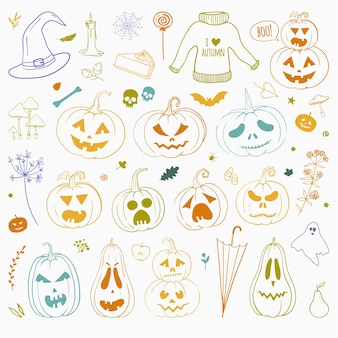 Set of hand drawn doodles for halloween thanksgiving and other autumn holidays vector doodles