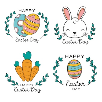 Set of hand drawn easter labels