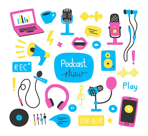 Set of hand drawn elements and phrases on the topic of recording podcasts, various microphones, a laptop, sound images. bright vector illustration in a flat style, for banners, websites, packaging.