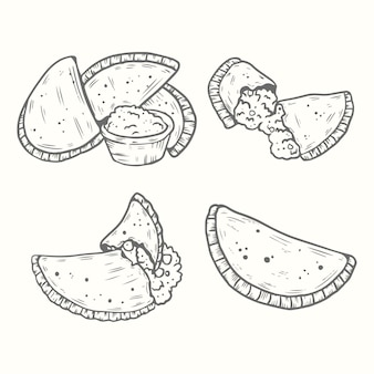 Set di empanada disegnati a mano