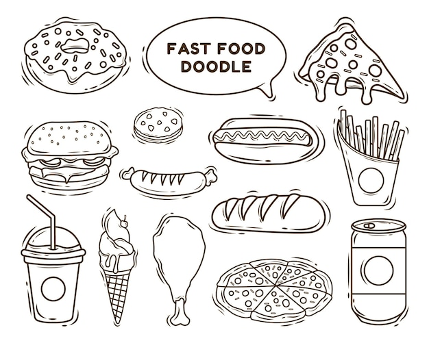 Set of hand drawn fast food cartoon doodle coloring