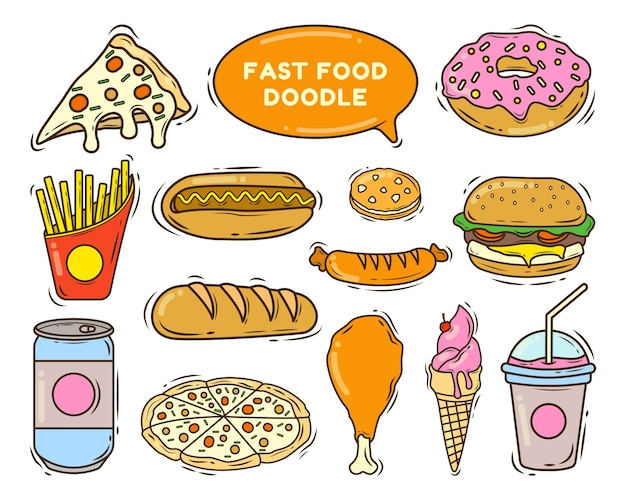 Set of hand drawn fast food cartoon doodle style