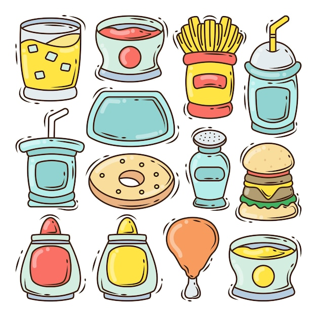 Set of hand drawn fast food element cartoon doodle design