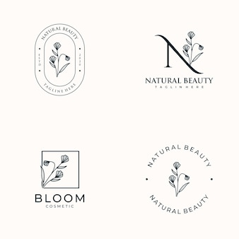 Set of hand drawn feminine, logo for spa salon, skin hair beauty boutique and cosmetic,