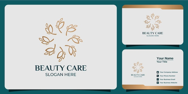 Set of hand drawn feminine and modern floral template logos and business cards