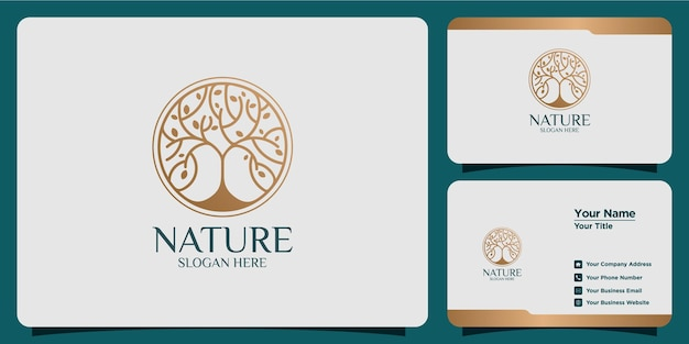 Set of hand drawn feminine and modern tree template logos and business cards