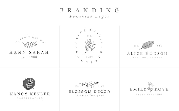 Set of hand drawn feminine vector signs or logo