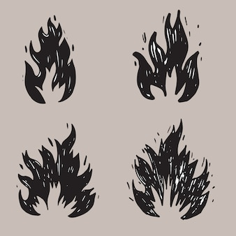 Set of hand drawn fire and fireball .doodle sketch fire. vector illustration.