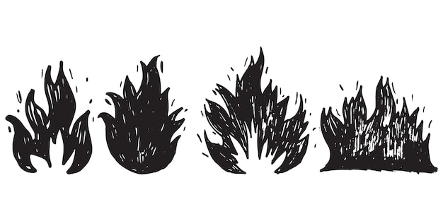 Set of hand drawn fire and fireball isolated on white background .doodle vector illustration.
