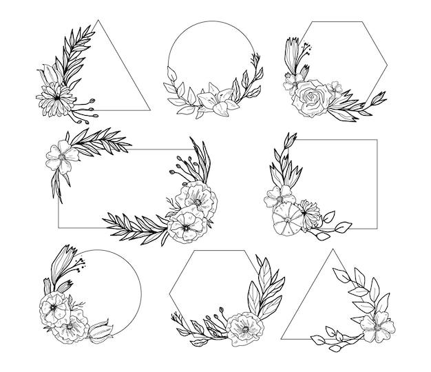 Set of hand drawn floral frames