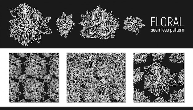 Set of hand drawn floral seamless pattern