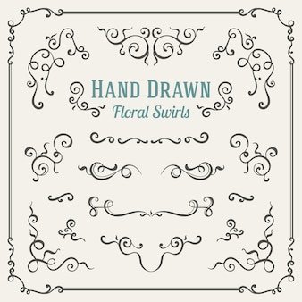 Set of the hand drawn floral swirls