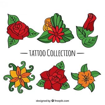 Set di disegnati a mano tatuaggi floreali