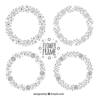 Set of hand drawn floral wreath