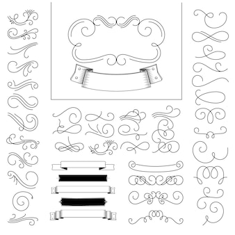 Set of hand drawn flourish elements.