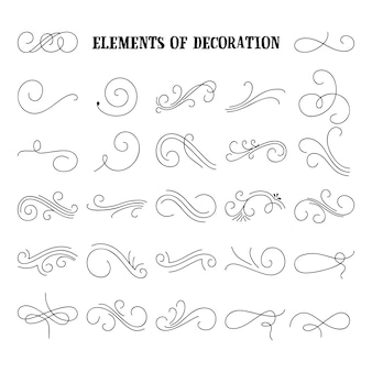 Set of hand drawn flourish elements