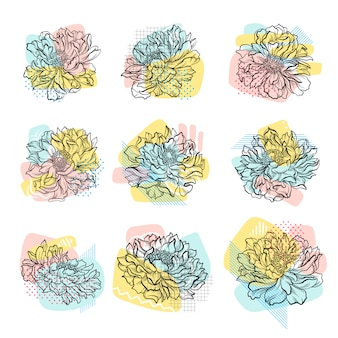 Set of hand drawn flowers with colorful abstract backdrop. line art.