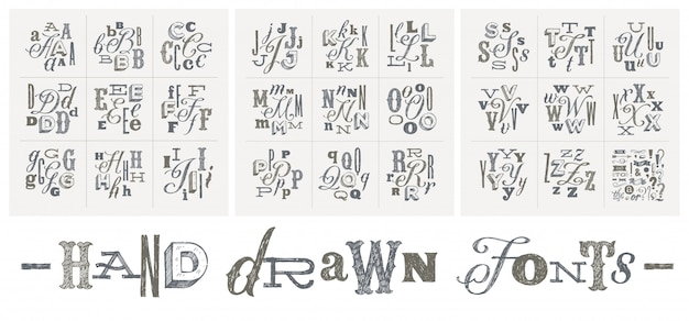 Set of hand drawn fonts for a headlines