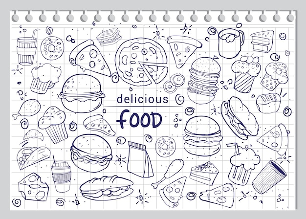 Set of hand drawn food isolated on white paper background, doodle vector illustration.