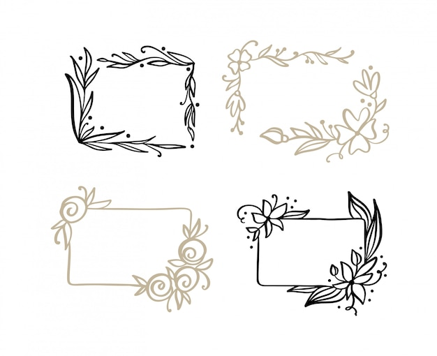 Set of hand drawn frames with spring leaves