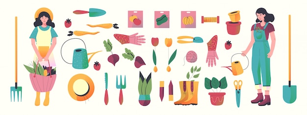 Set of hand drawn garden tools. all elements object.