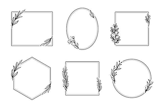 Set of hand drawn geometric floral frame