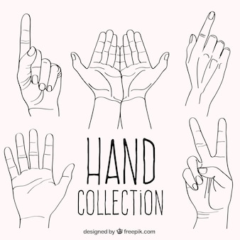 Set of hand drawn gestures with hands
