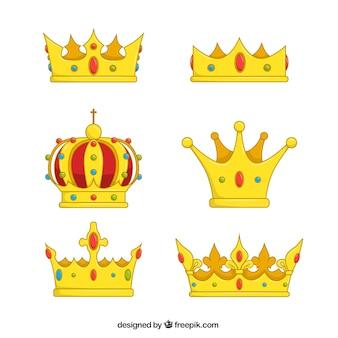 Set of hand-drawn golden crowns
